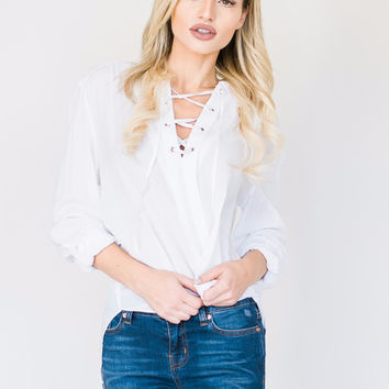 Lace-up White Blouse