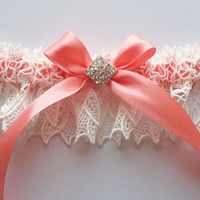 Wedding Garter Ivory Lace Over Coral Satin with Rhinestone Centered Bow - The KIMBERLY Garter