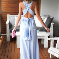 The Perfect Date Multiway Maxi Dress (Baby Blue) | Xenia Boutique | Women's fashion for Less - Fast Shipping