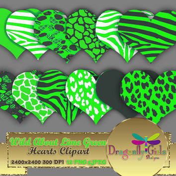 """80% OFF Sale WILD About Lime Green Hearts 8"""" clipart, commercial use, digital scrapbook papers, vector graphics, printable, Instant Download"""