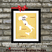 Custom Italy Wedding Song Lyric Art  Map: Customized Honeymoon Anniversary Travel Personalized Wedding Gift for Couples Italian Rome Poster