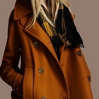 Brown Wool Double Breasted Long Sleeve Button Front Peacoat Jacket Coat