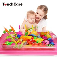 Children's Magnetic Fishing Toy With Inflatable Pool Rod Net Set Kids Outdoor Play Fishing Games Bath Toys