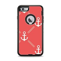 The Coral & White Vintage Solid Color Anchor Linked Apple iPhone 6 Plus Otterbox Defender Case Skin Set