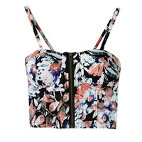 Zip Up Floral Print Bustier Crop Top in Multi Color
