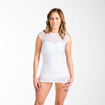 Skirted Rash Guard Swimwear,full back coverage with a sexy yet modest design - White