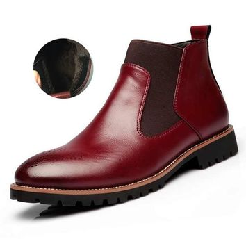 Fashion Chelsea British Style Ankle Soft Leather Boots