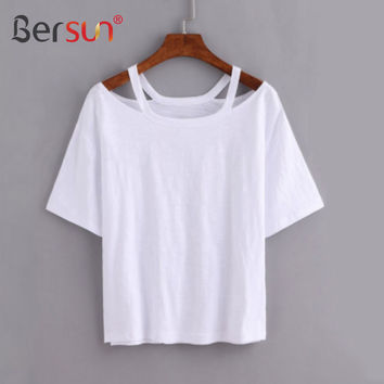 Bersun 2017 Fashion Summer White T-Shirt Women Short Sleeve Casual Tops Tees Female Strapless Cotton T Shirt