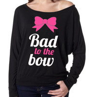 Women's T-Shirt. Off the Shoulder Shirt. Bad To The Bow. Gym hoodie. Workout hoodie. Sweatshirt. Exercise Hoodie.