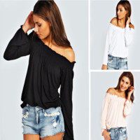 The New Off Shoulder Long Sleeve Tee Blouse + Nice Free Necklace Gift