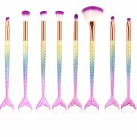 10 Pcs Mermaid Makeup Brushes Tools Set