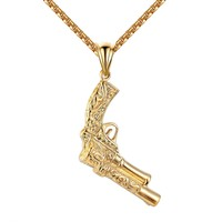 "Pistol Gun Pendant Mens Stainless Steel 14k Gold Finish 24"" Necklace Charm 2.9"""