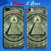 Illuminati Symbols One Dollar Bill Custom iPhone 5 Case Cover from namina