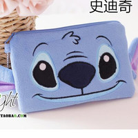 Mickey & Minnie Stitch plush wallet mobile phone bags pencil case multi-admission bag Household Storage bag