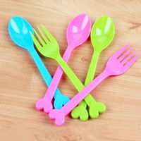 8pcs Multifunction Candy Color Plastic Fork Cutlery Set Kitchen Utensils Spork Reusable Camping Hiking Travel Tableware
