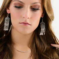 Shooting Star Antique Silver Earrings With Dangling Beads