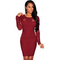 Date Red Lace Nude Long Sleeves Bodycon Dress LAVELIQ