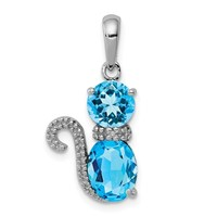 Sterling Silver Blue Topaz And Diamond Cat Pendant