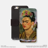 Oil painting Frida Kahlo iPhone Samsung Galaxy leather wallet case cover 052