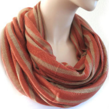 Stripes Print Infinity Scarf Trendy Fashion Accessories for Women