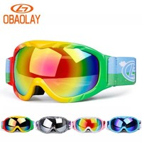 Children double Lens Ski Goggles Winter Snow Sports Snowboard Goggles with Anti-fog UV Protection Snowmobile Skiing Skating mask