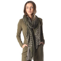 Green printed scarf in fine knit