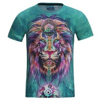 Colorful Lion 3D Print Summer Tees