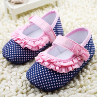 Cute Navy Blue Polka Dot Baby Girls Lace shoes