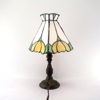 Stained Glass Accent Lamp White Yellow Green Handmade