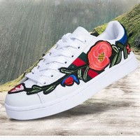 THE Gucci Fashion Flower Embroidery Old Skool Sneakers Sport Shoes white