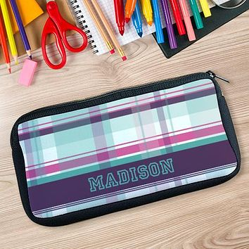 Personalized Purple Plaid Pencil Case