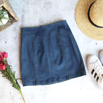 honey belle - high waisted denim skirt with back zipper - denim