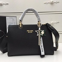 prada women leather shoulder bags satchel tote bag handbag shopping leather tote crossbody 169