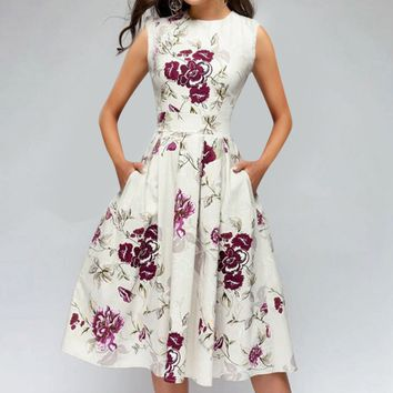 Women Fashion Butterfly Floral Vintage Pleat Swing Dresses Summer Sleeveless Zipper Sashes Dress Retro Party Dress 3