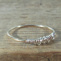 Stacking Ring Tangled Gold with Silver