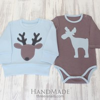 """Baby boy outfits""""Moose Bullwinkle"""""""