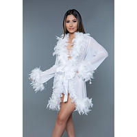 Sheer Short Length Robe With Chandelle Boa Feather Trim