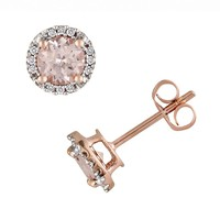 10k Rose Gold Morganite & Diamond Accent Stud Earrings (Pink)