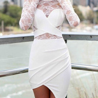 White Scoop Neck Long Sleeves Lace Asymmetric Dress