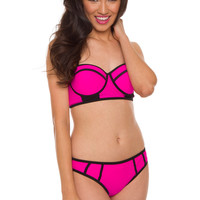 Marisol Bathing Bottom in Hot Pink