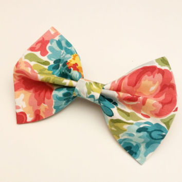 Floral Watercolor Bow  • Floral Hair Clip • Flower Hairbow • Watercolor Bow  • Spring Fashion •Cotton Hair Bow •Handmade Bow •Floral Fashion