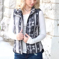 Contrasting Back Faded Aztec Puff Vest {Charcoal+Grey}