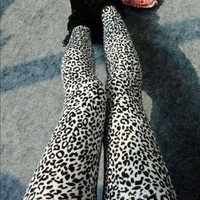ECOSCO Women Popular Full Leopard Print Animal Pattern Ankle Length Footless Legging Tregging Tight Pant One Size Black+White:Amazon:Arts, Crafts & Sewing