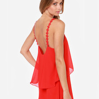 Red Layered Backless Chiffon Dress with Embroidered Straps