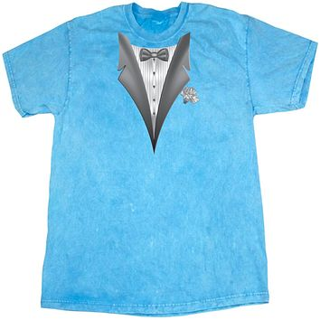 Tuxedo T-shirt White Flower Mineral Washed Tie Dye Tee
