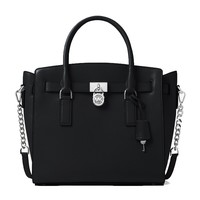 MICHAEL Michael Kors Hamilton Large E/W Satchel, Color 001 Black w/Silver Hardware