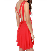V-neck Sleeveless Backless Skater Dress
