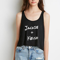 "That 70's Show ""Jackie + Kelso"" Boxy, Cropped Tank Top"