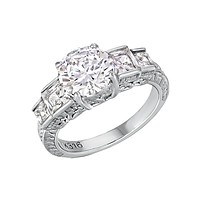 Lovable - Quality Craftsmanship Engagement Ring with Round Cut Cubic Zirconia Center Stone