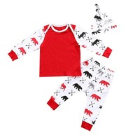 Red Christmas Baby Clothes Suits Newborn T-Shirt Trouser Caps 3-Piece Clothing Set X'MAS Deer Bear Boys Jumpsuit Cotton Pajamas